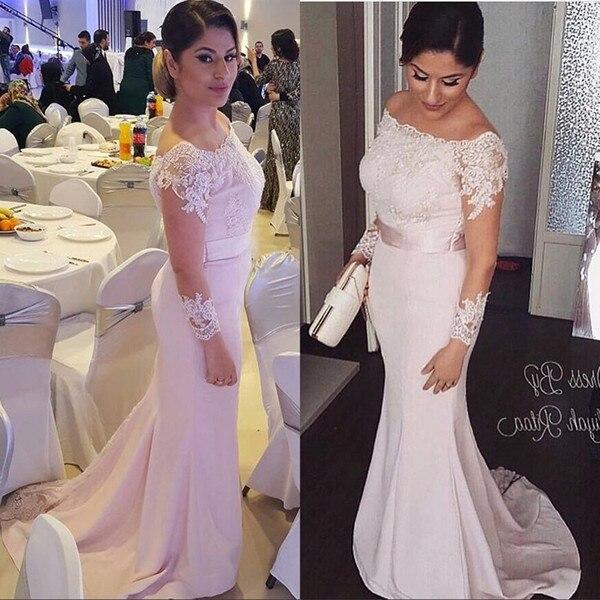 Pink Mermaid Mother Of The Bride Dresses 2019 Sheer Long Sleeves Off Shoulder Wedding Party Guest Dress Evening Vestido Madrinha