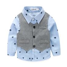 2017 Spring Baby Boy gentleman suit shirt + overalls 2pcs long sleeve T-shirt boys pants kids clothes children's clothing set