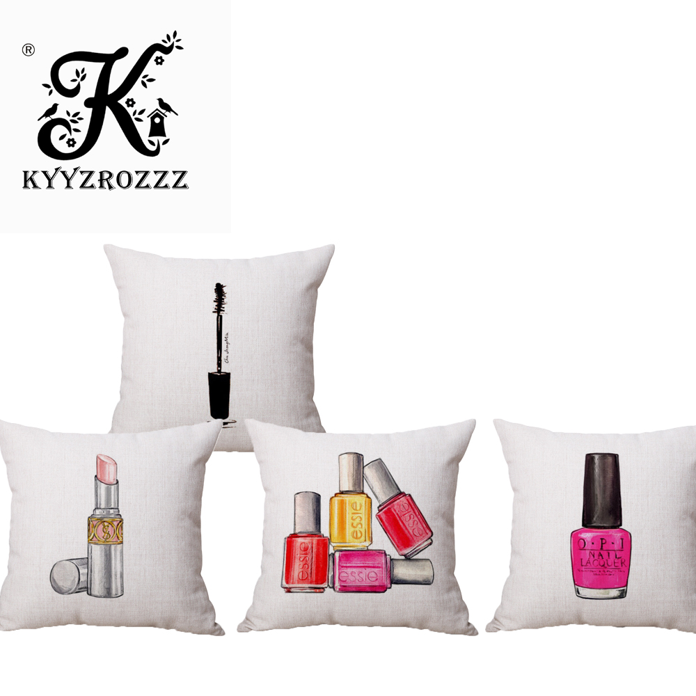Nordic Nail Polish Perfume bottles and lipstick Car Home Decor Sofa Car Seat Decorative Cushion Cover Pillow Case Capa Almofada