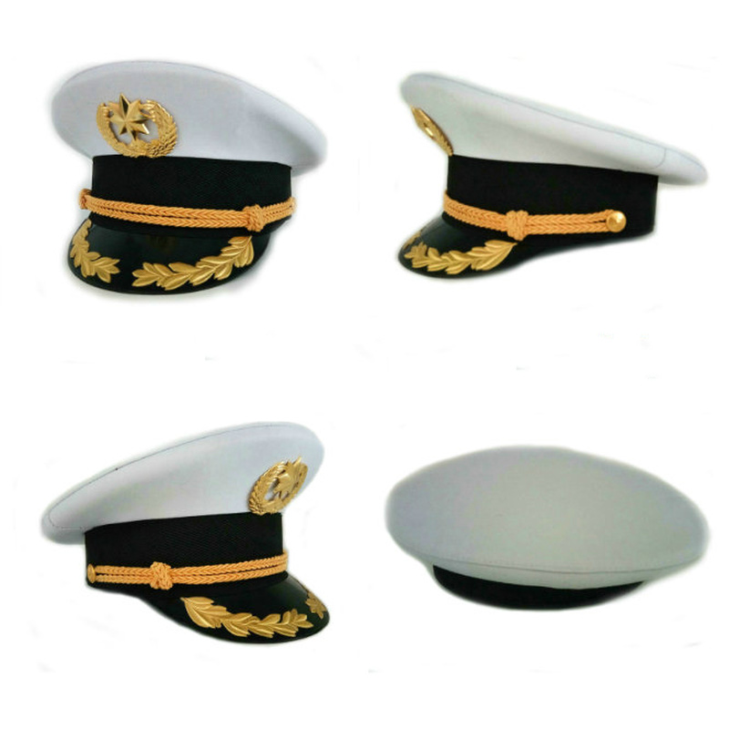 Fast Deliver Security White Big Cap Band White Big Cap Fashion Hats 2018 Woman And Men Military Hat Military Army Police Uniforms Captain Hat Strong Packing