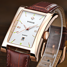 2016 New Luxury Brand WWOOR Men s Watches Quartz Watch Male Wristwatch leather Strap Waterproof Clocks