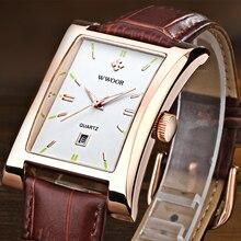 2016 New Luxury Brand WWOOR Orologi da Uomo Orologio Al Quarzo Uomo Orologio Da Polso Cinturino in pelle Impermeabile Orologi relogio masculino relojes