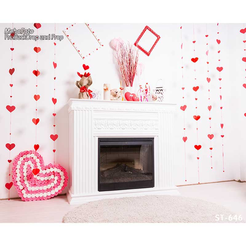Horizontal vinyl print  girl's Xmas decoration white wall room photography backdrop for photo studio portrait background ST-645 8x10ft valentine s day photography pink love heart shape adult portrait backdrop d 7324