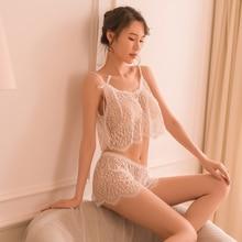Hoyyezen sexy pajamas women sizzling short perspective lace hollow female transparent ultra-thin sling set