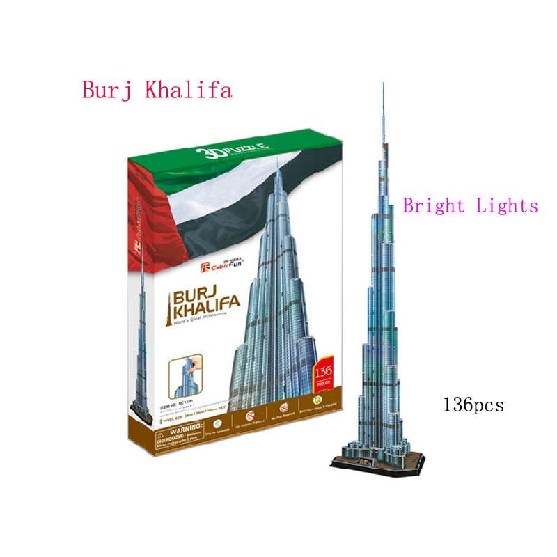 136pcs/set 3D Model Paper Building Flash DIY Burj Dubai Building Model Puzzle LED Toy For Childrens