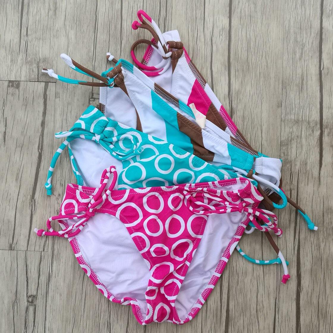 Designer Zwembroek.Vrouw Bikini Bottom Zwembroek Zwemmen Pak Spriped Blue Dot Roze