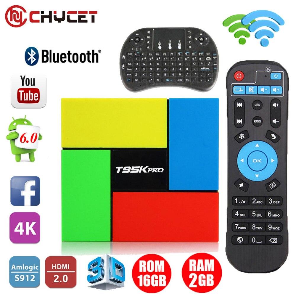 ФОТО CHYCET T95K PRO 2GB 16GB Android 6.0 Smart TV box Octa Core Amlogic S912 Dual Band WIFI BT4.0 4K Media Player+Keyboard