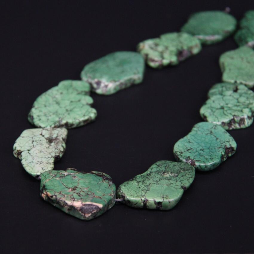 2Strands/Lot Natural Green Turquoises Slab Slice Loose Beads,Raw Magnesite Gems Nugget Pendant Beads For DIY Necklace Jewelry