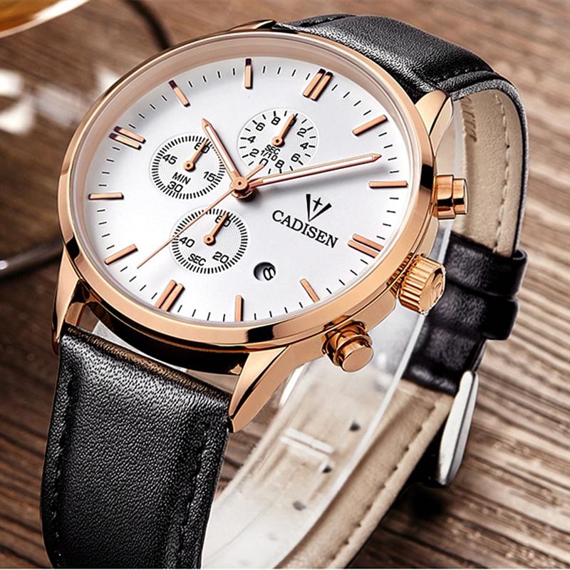 CADISEN Mens Watches Top Brand Luxury Watches Men Sport Military Watch Genuine Quartz Watch Men Wristwatches Relogio Masculino-in Quartz Watches from Watches    1