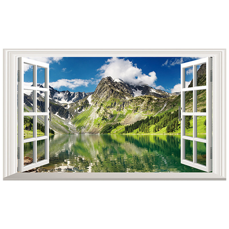 120*70cm snowy Mountain scenery poster green Hill clear Water 3d fake window vinyl wall stickers home decoration landscape mural