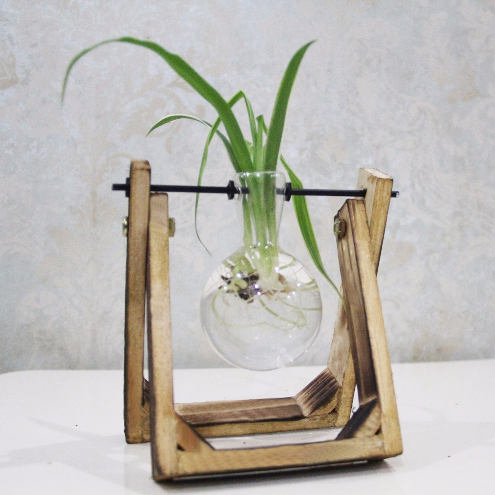 Pine wood modern style glass tabletop plant bonsai flower wedding pine wood modern style glass tabletop plant bonsai flower wedding decorative vase with wooden tray home decoration accessories in vases from home garden reviewsmspy