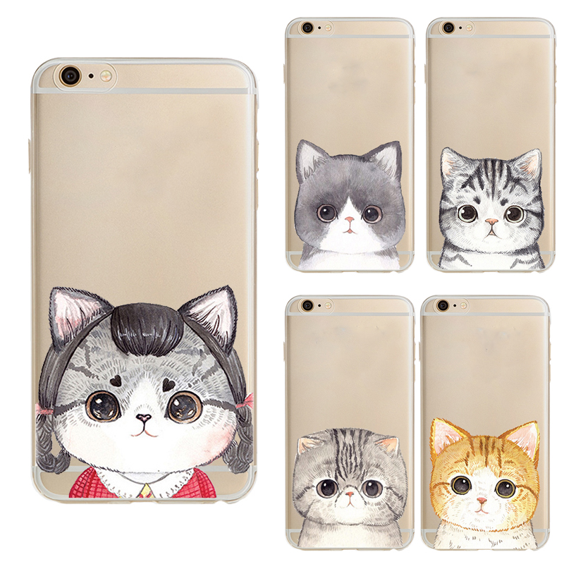 Ultra Thin Big eyes cat For iPhone 6 Case Crystal Soft Gel TPU Phone Cases Big cat face Case For iPhone6 6S 6 Plus 6SPlus Case