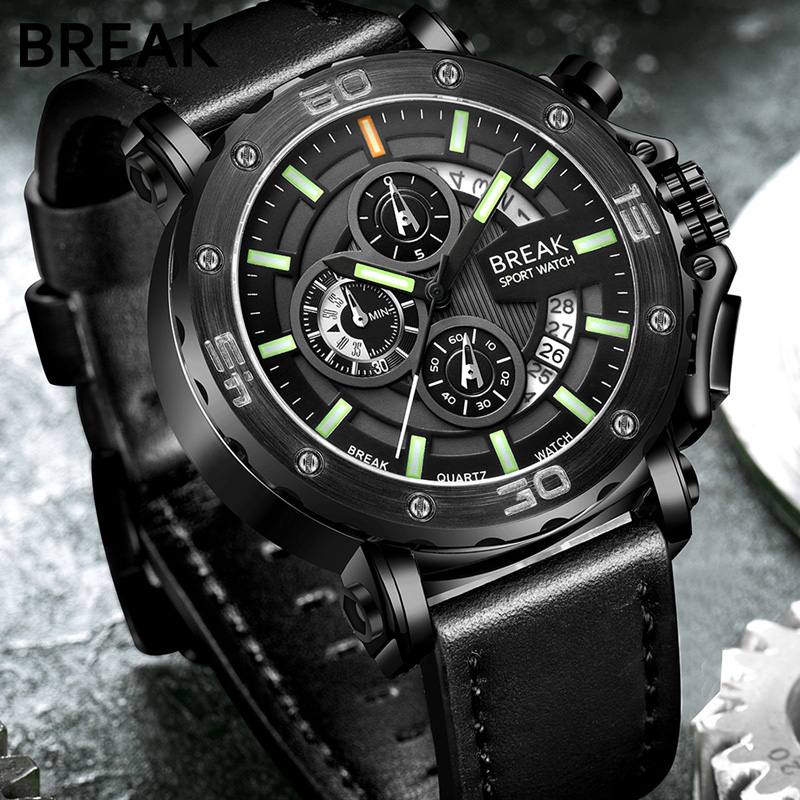Break Quartz Men's Sport Watch Big Dial Leather Strap Army Military Watches Clock Men Chronograph Wristwatches Relogio Masculino