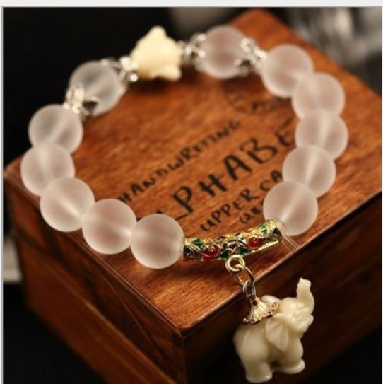 buy online 25677 9cd14 OMH por mayor 12mm joyería blanco natural cristal helado de las mujeres  encantadoras de la manera pulsera SZ29