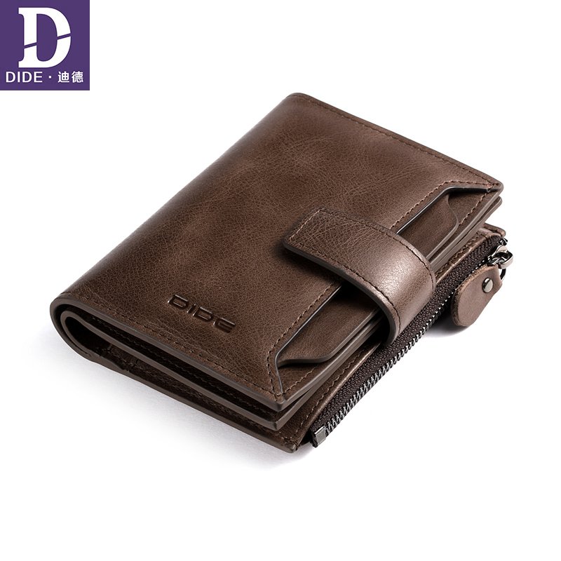 DIDE Organizer Wallet Carder-Holder Short Coin Purse Male Genuine-Leather High-Quality