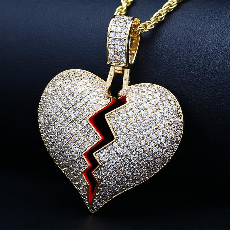 купить Hip Hop Iced Out CZ Broken Heart Pendant Necklace For Women Men Gold Silver Cubic Zirconia Necklaces Chain Jewelry Party XHXL-H по цене 749.33 рублей
