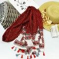 New Design Retro Ethnic Floral Tassel Viscose Shawl Scarf Bufandas Mujer 2016 Spain Brand Wrap Snood Muslim Hijab Foulard Soie
