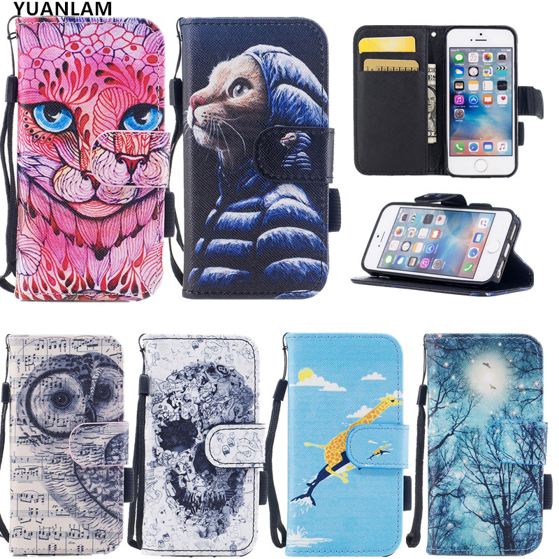 3D Relief cute Leopard cat fish case For Apple iPhone 7 7 8 plus 4.7 5.5 Wallet Flip PU Leather Magnetic with Card Holder