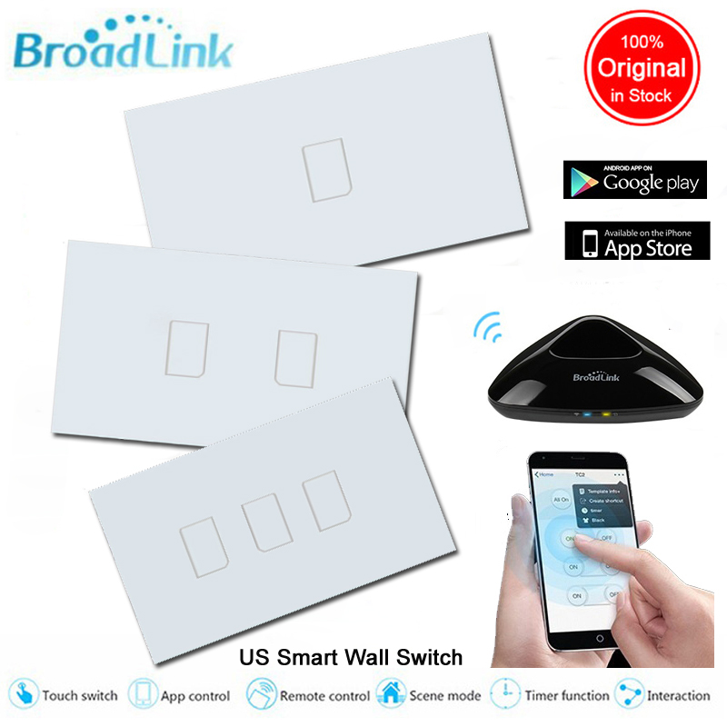 Broadlink TC2 US Smart Home 1 2 3 Gang Wireless Wall Light Control Wifi Switch 220v ,Glass Touch Panel SwitchesHome Automation us 1 gang remote control touch switch wall light controler smart home automation crystal glass panel 110v 220v 118 type
