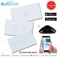 Broadlink TC2 US applique murale WiFi interrupteur 1 2 3 Gang Smart Home panneau en verre commande tactile interrupteurs sans fil 110V 220V Via Rm Pro