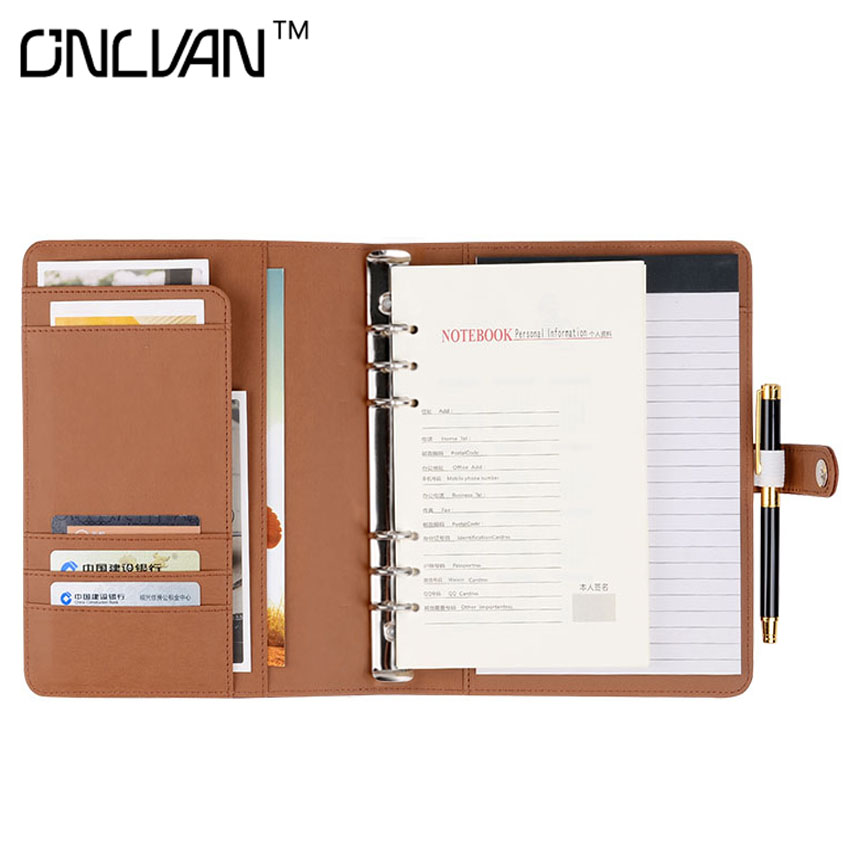 ONLVAN A5 Leather Writing Pad Notebook Office Supply Business Accessories Accept Customized sketchbook Multifunction Portfolio onlvan manager folder 6000mah portfolio pu leather padfolio document covers office supply business accessories accept customized
