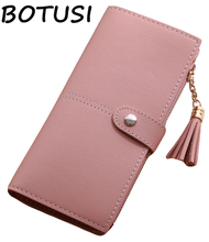 BOTUSI Pure Color Simple Tassel Wallet  Female Long Women Zipper Purse Strap Coin Card Holder Fashion PU Leather