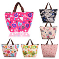 Oxford Fabric Lunch Bag Thermal Bag Fridge Neoprene Lunch Box Picnic Bag With Tinfoil Inside Flower Cherry Colorful Bag