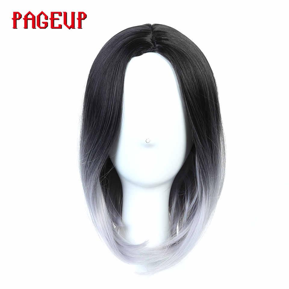 Pageup короткие Омбре афро парики для черных женщин блонд Розовый Черный Серый термостойкий парик Косплей Синтетические прямые Pixie Cut парик
