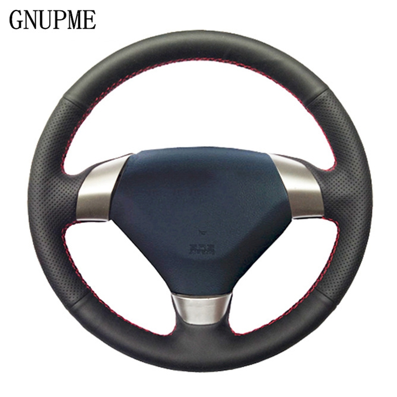 GNUPME DIY Artificial Leather Hand-Stitched Black Car Steering Wheel Cover for Honda Accord <font><b>7</b></font> 2002-2005 (3-Spoke) image