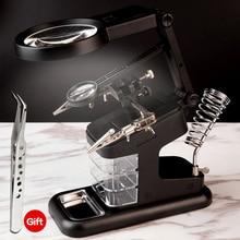 3X 4.5X 25X Helpende Hand Soldeerbouten Stand Clip Led Light Met 3 Tool Dozen Vergrootglas Lens Desk Station reparatie Tools