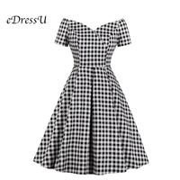 eDressU Plaid Bateau Elegant Vintage Dress Women Chic Casual Sexy Cocktail Party Dress Daily Club MXN 1766