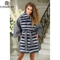 FURSARCAR 2018 Fashion Natural Fur Jacket Cashmere Women Luxury Wool Fur Coat With Rex Rabbit Casual Rex Rabbit Coat