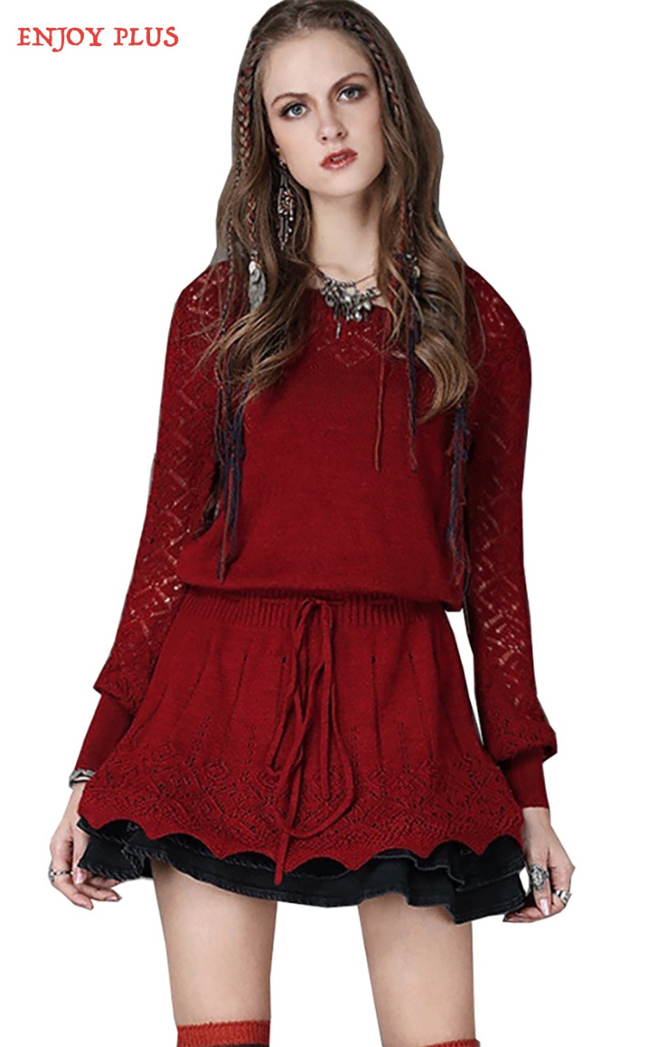 100  [ Long Sleeve Red Sweater Dress ] | Red Sleep Party More ...