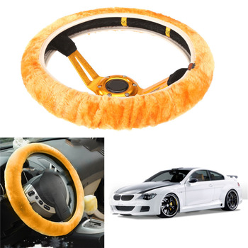 High Density Thickened Car Fur Steering Wheel Cover Universal CAR Soft Warm Plush Winter Steering-Wheel Cover Car-styling New image