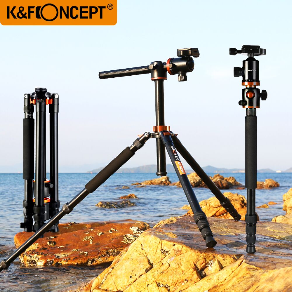 K & F CONCEPT Profesjonell 4 seksjon Alloy Stativ For Kamera Bærbar Monopod Stativ For Digital / Video Canon Nikon Sony Kamera