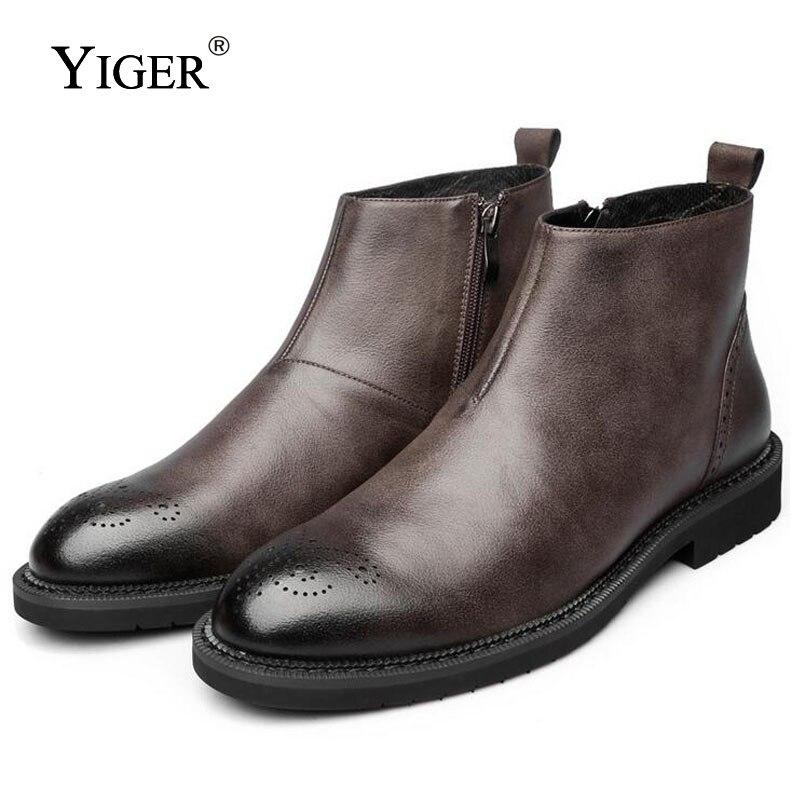 YIGER новые мужские полусапоги ботинки «Челси» из натуральной кожи мужские ботинки «Bullock» Сапоги Мода Four seasons Стиль обувь коричневого и черног...