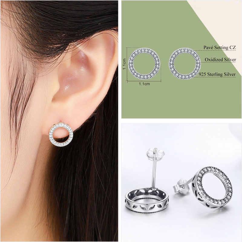 Bisaer dia dos namorados 925 brincos de prata esterlina clara cz para sempre círculo redondo brincos para mulheres jóias de prata brincos