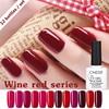 CNDSE 12 Bottles Set 10ML Wine Red Nail Polish Long Lasting Colorful UV Gel Glitter Nail