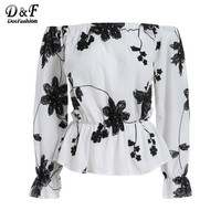 Dotfashion Off The Shoulder Floral Vintage Tops Summer Style Casual Woman New Arrivals Ladies White Black