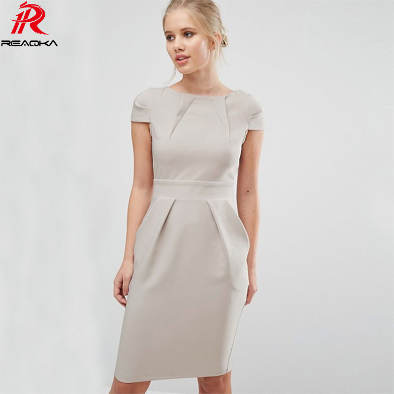 Reaqka Women office Casual dress Elegant Pockets Contrast Patchwork Tunic Work Business Party Evening Bodycon Dresses 2017 short dresses office wear
