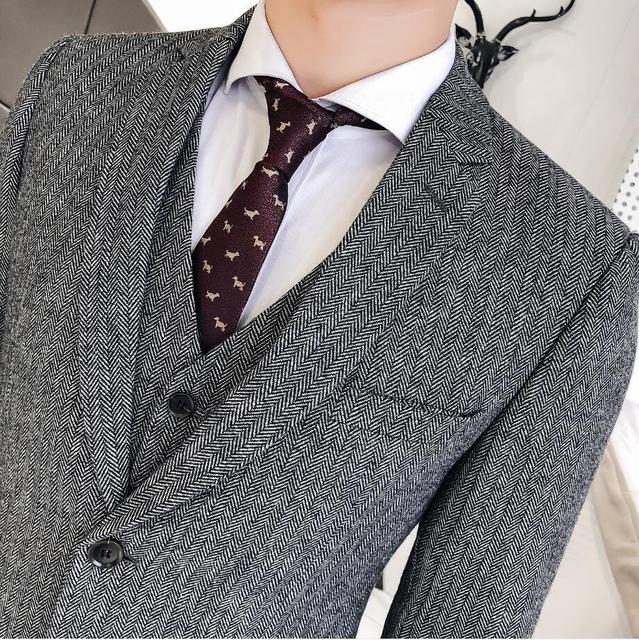 Men Suits For Wedding Dress High Quality 50% Wool Forwal Wear Suits Jackets+Suit Pants+Vest Men Slim Casual Suits Blazer Size3XL
