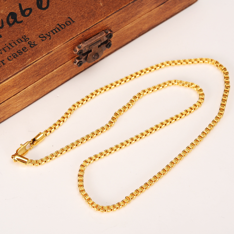 24k Gold color  Filled Necklace Chain for Men and Women Necklace Bracelet  Gold rope Chain Necklace High Quality Ожерелье