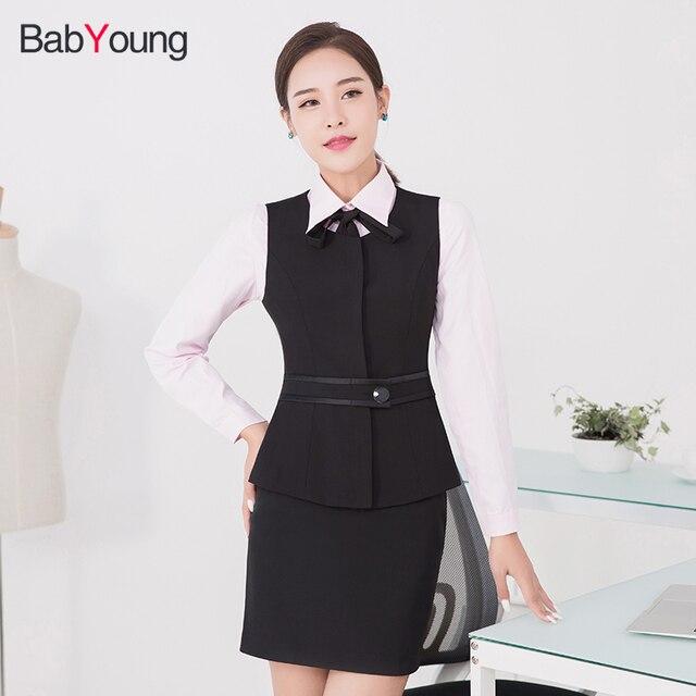 005dfbeb72e Babyoung tres piezas conjunto chaleco femenino las mujeres blusa Tops  Faldas casual Sets ropa Oficina señora