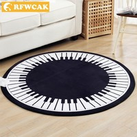 RFWCAK Piano Keyboard Music Note Round Carpet Rugs Bedroom Living Room Tea Table Mat Kids Room Computer Chair Floor Mat Doormat
