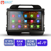 EKIY 9'' IPS Android Car Multimedia Player Not 2 Din Auto Radio Stereo For Kia Sportage 2010 2015 GPS Navigation With 4G Modem