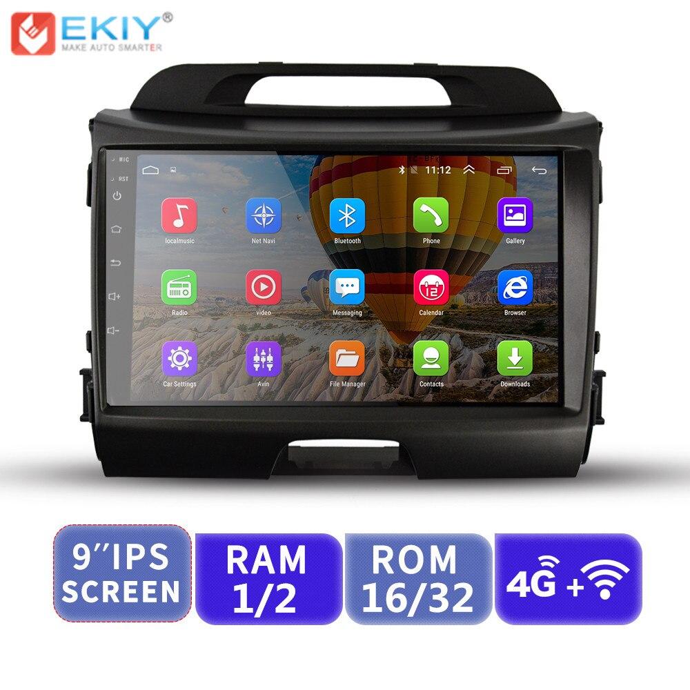 EKIY 9 ''IPS Android lecteur multimédia de voiture pas 2 Din Auto Radio stéréo pour Kia Sportage 2010-2015 Navigation GPS avec Modem 4G