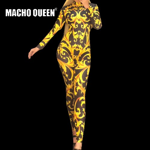 Drag Queen Costumes Sexy Tattoo Baroque Print Bodysuit Jumpsuit Celebrity  Runway Outfit Birthday Party Wear fd0066341ec6