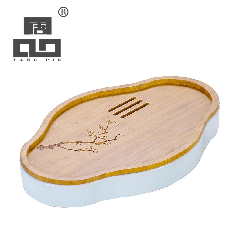 TANGPIN en céramique et bambou thé plateaux thé conseil accessoires chinois kung fu thé plateau table
