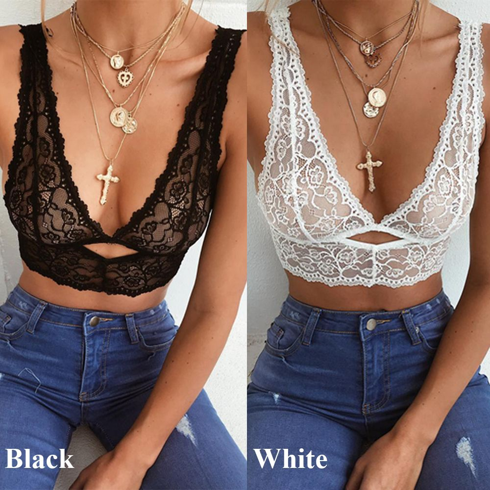1PC Summer Slim Deep V Women Sexy Bra Lace Embroidery Push Up Strappy Lingerie Shaping Padded Underwear Crop Bra Top Plus Size