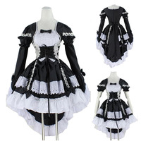 Women Black & Pink Angel Princess Maid Costume Lolita Cincher Tuxedo Tail Dress Bow Tie Anime Gothic Cosplay Outfit For Lady